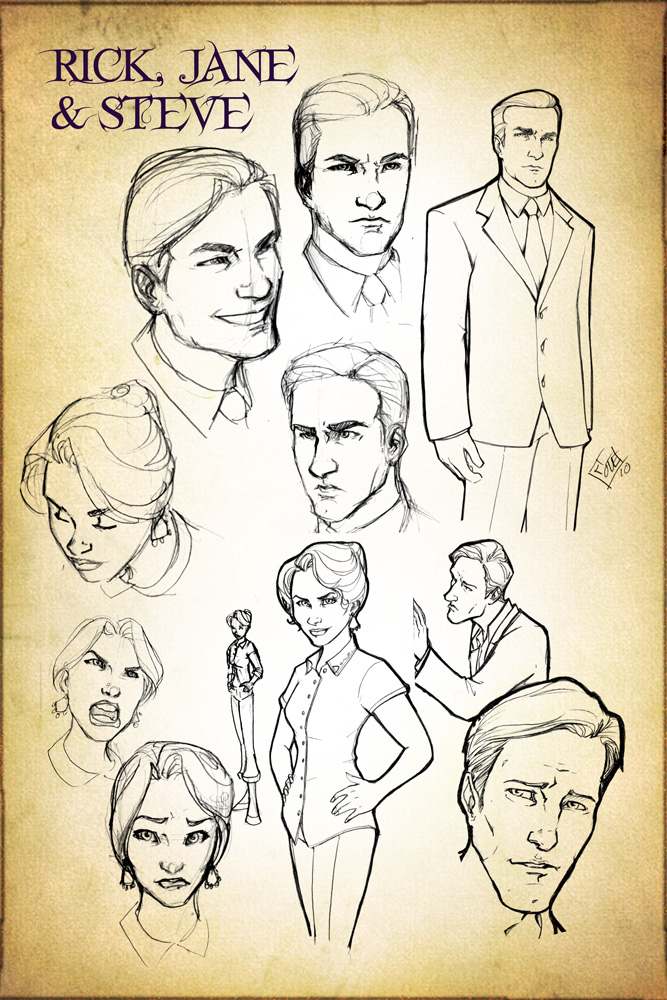 Rick, Jane, and Steve Concept Design Sketches