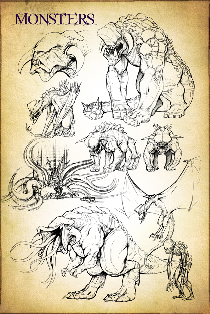 Gloom Monster Concept Design Sketches