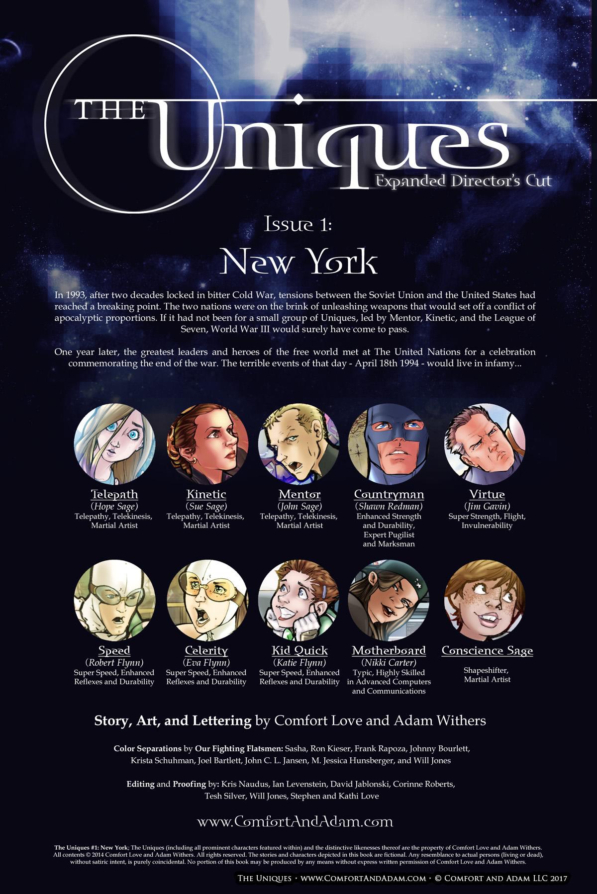 The Uniques #1 Title Page
