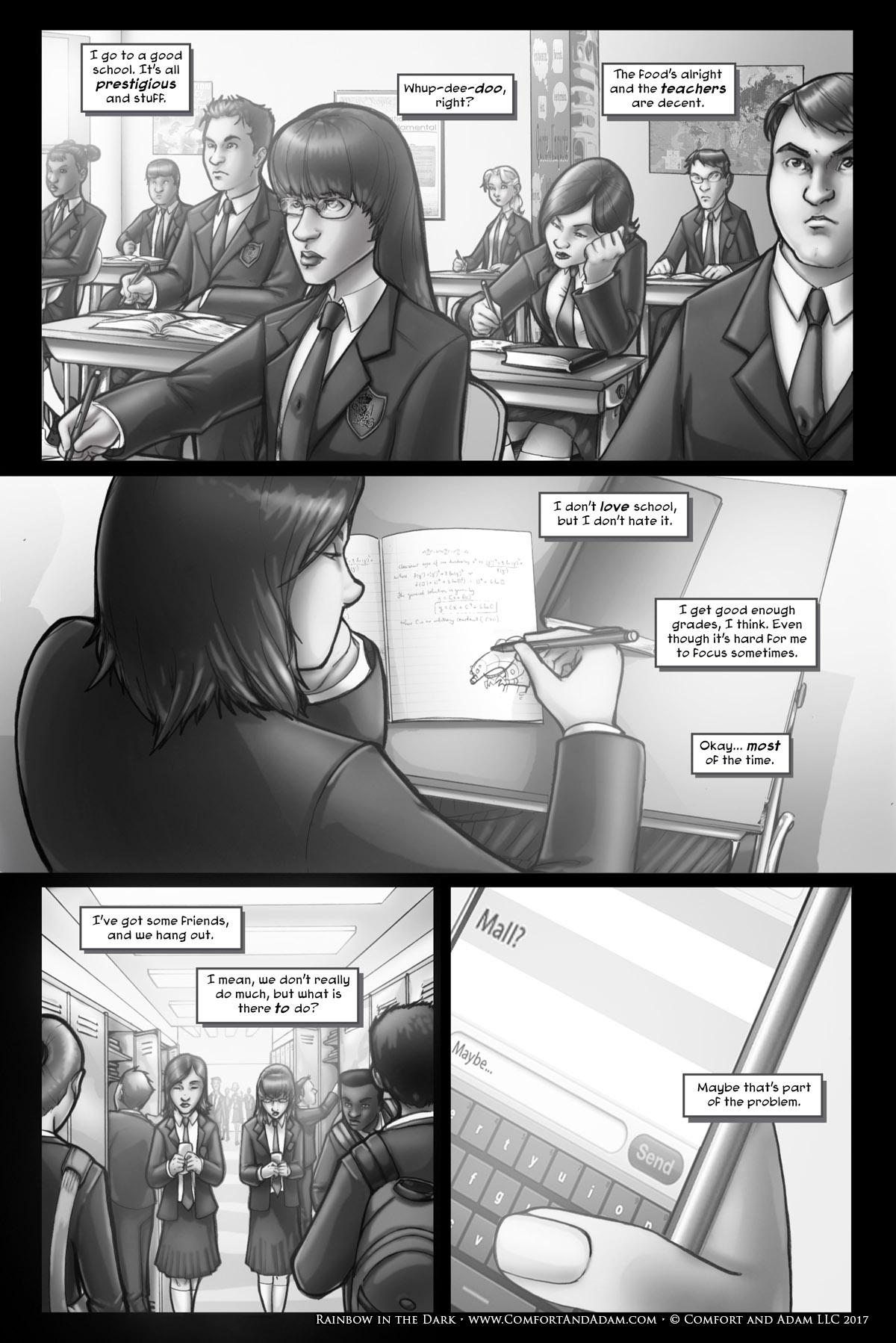Rainbow in the Dark #1, pg. 3: High School Sucks