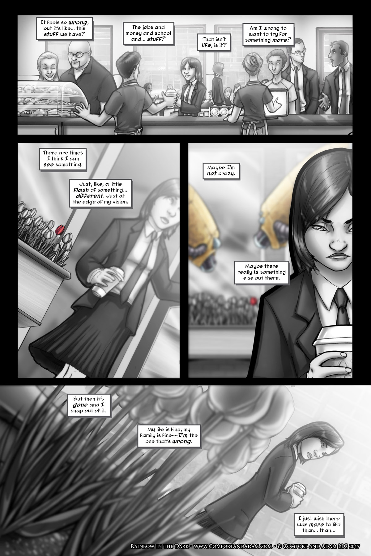 Rainbow in the Dark #1, pg. 5: A Glimpse of a Rose