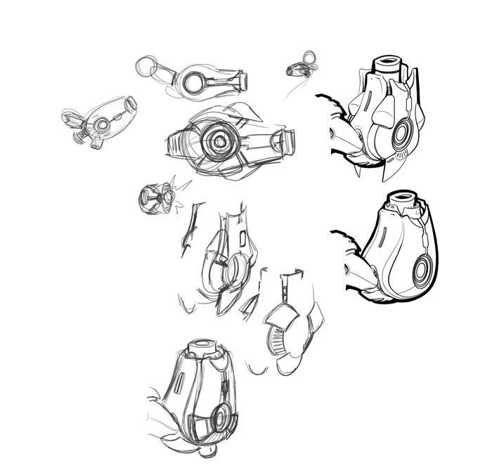 Mega Buster Design Sketches