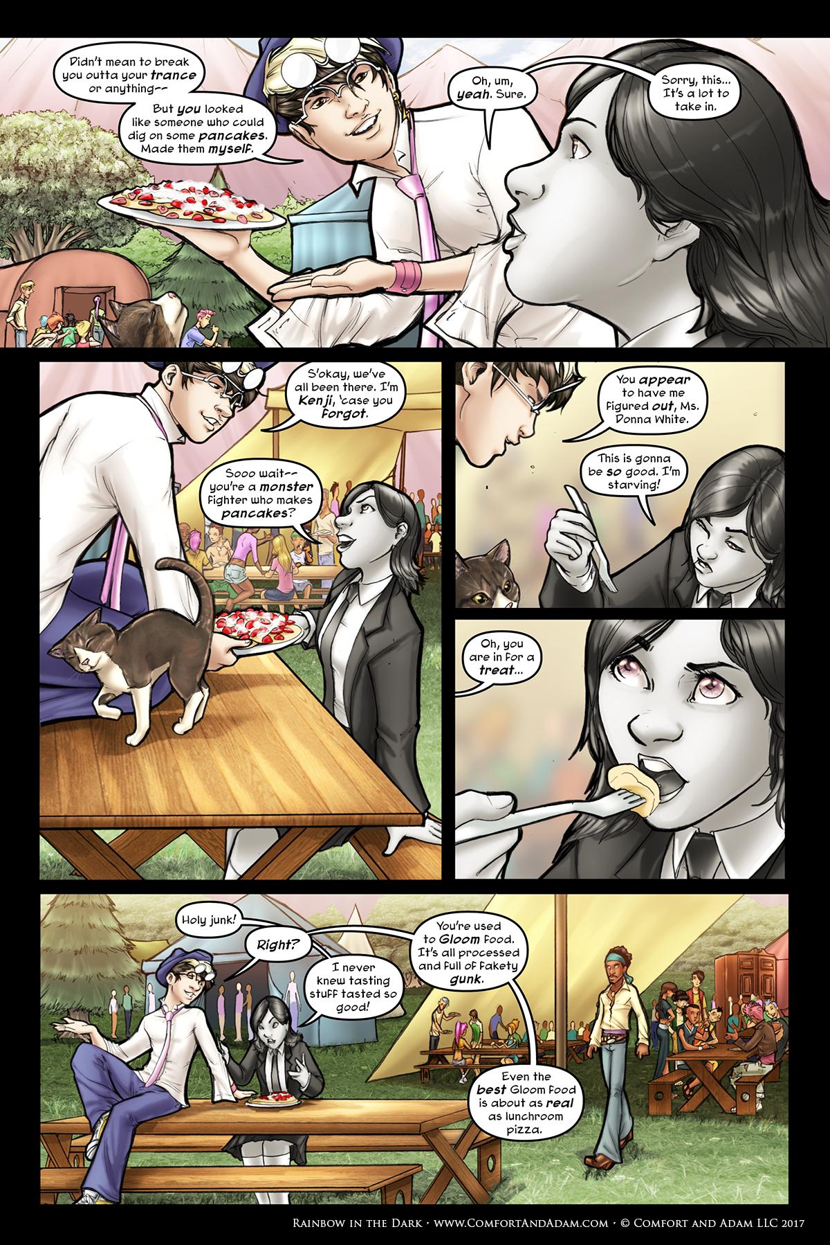 Rainbow in the Dark #2, pg. 3: Pancakes!