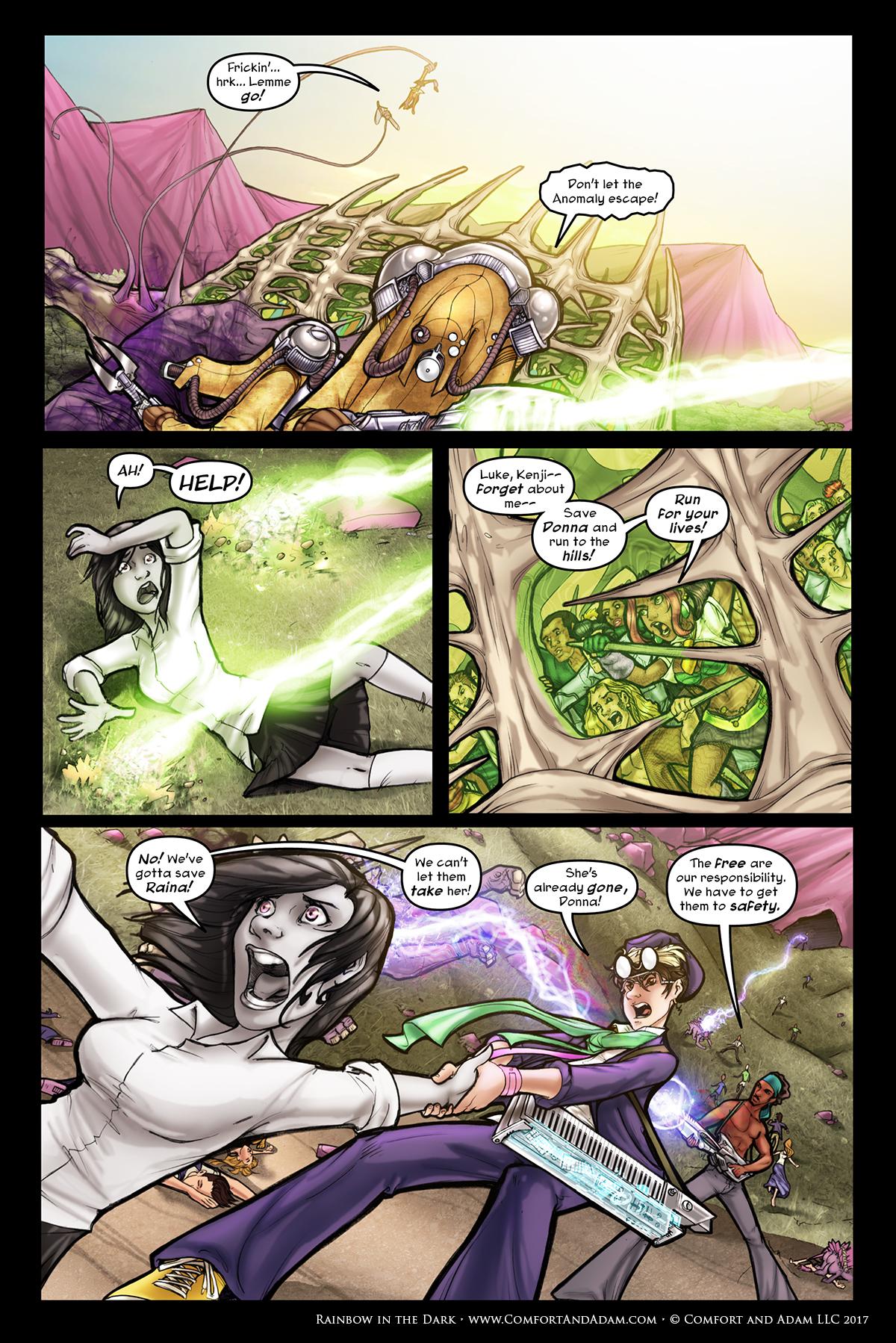 Rainbow in the Dark #2, pg. 21: Raina Captured