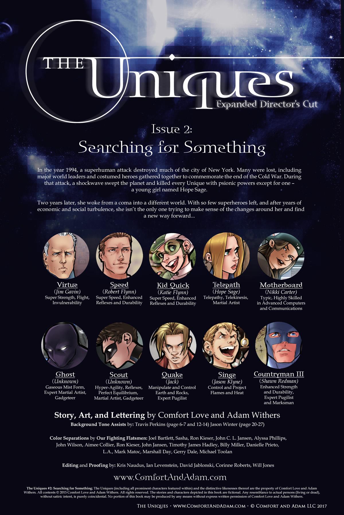 The Uniques #2 Title Page