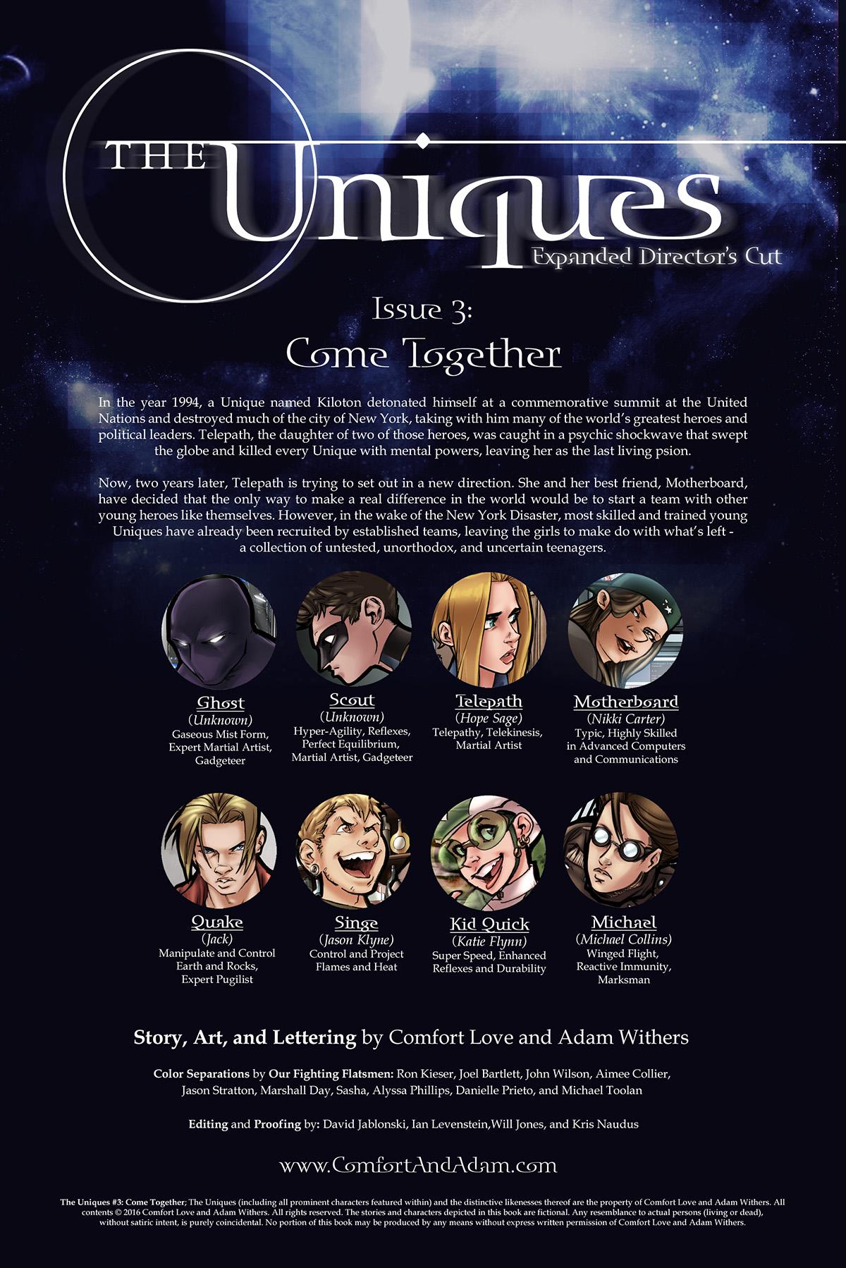 The Uniques #3 Title Page