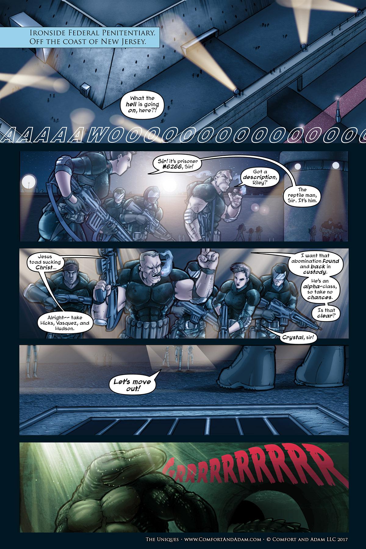The Uniques #3, pg. 9: Prison Break