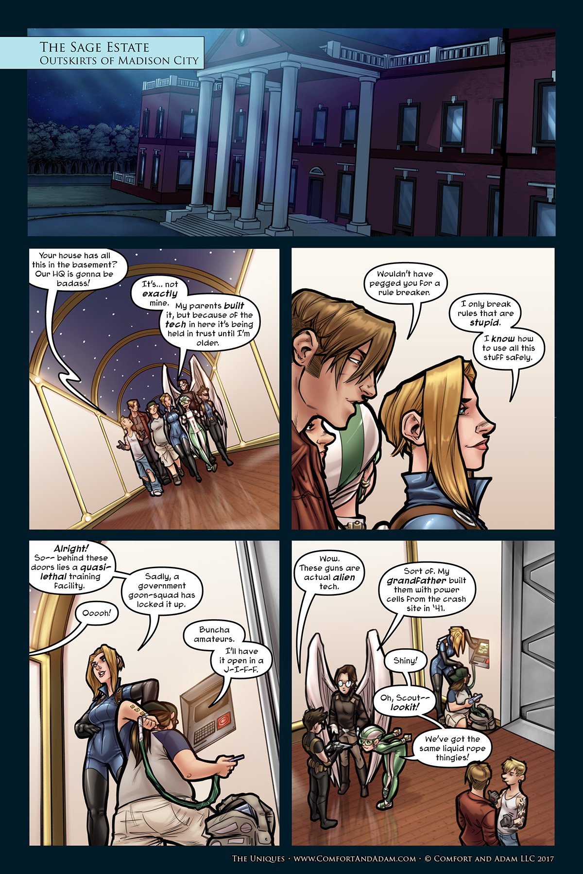 The Uniques #3, pg. 10: Sneaking Downstairs