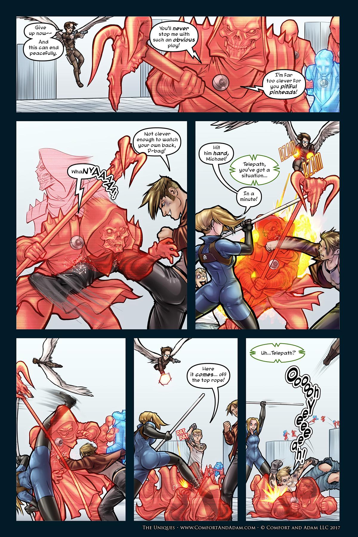 The Uniques #3, pg. 27: Hit Him Hard